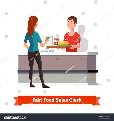 sales clerk fast food restaurant handing stock vector 294356669