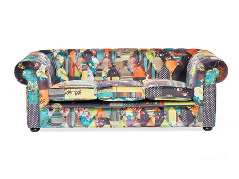 Chesterfield Patchwork Sofa - patchwork chesterfield sofa 3 seat luxury settee retro 200