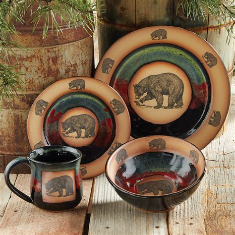 Kitchen Canisters Green Forest Bear Pottery Dinnerware 4 Pcs