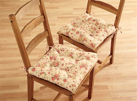 2 pc set shabby chic style english rose kitchen dining chair cushion pads new ebay