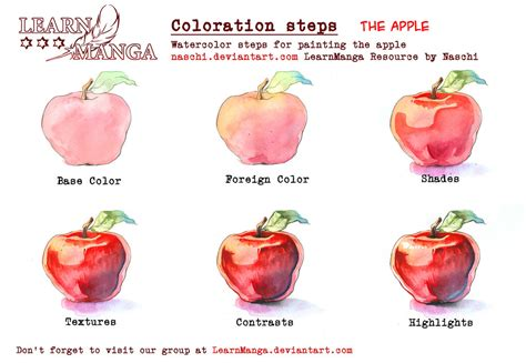 watercolor tutorial apple learnmanga watercolorsteps apple by naschi on deviantart