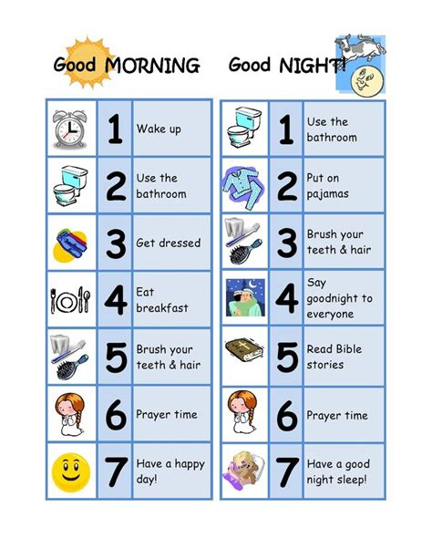 6 best images of 5 year old chore chart 3 year old chore good morning good night chore chart designed for a 3