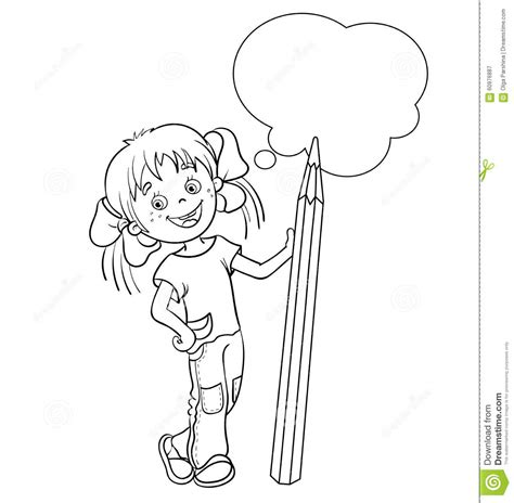 coloring page of a girl outline coloring page outline of a cartoon girl with pencil stock