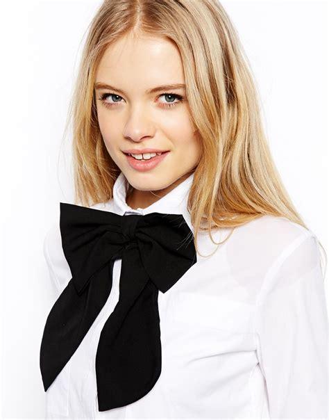 Asos Bow Neck Tie lyst asos oversized bow tie in black