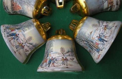 carrier ives christmas oraments six currier and ives bell ornaments in original box vintage ornaments