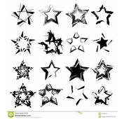 Abstract Ink Grunge Vector Stars Set Isolated On White Background