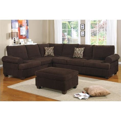 chocolate corduroy sectional bowery hill corduroy sectional sofa in chocolate bh 526281