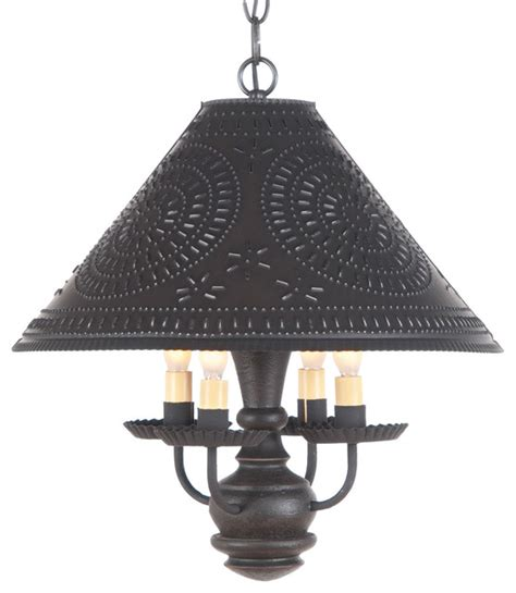 primitive homespun shade light punched tin wood black