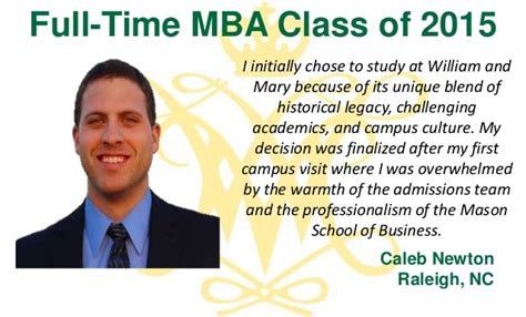 William And Mba Concentrations by Why W M The Class Of 2015