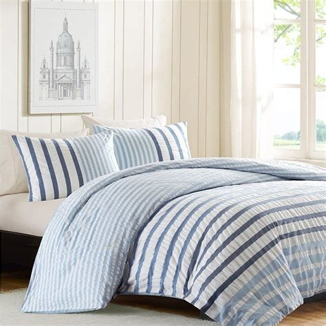 Seersucker Blue And White Stripes Comforter Set