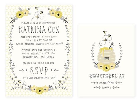 Baby Shower Registration Card Templates by Baby Shower Invitation And Registry Card Honey Bee Baby