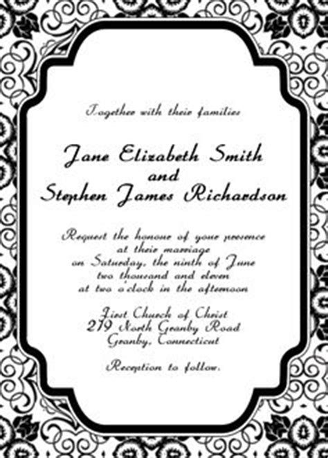 1000 Images About Free Printable Wedding Invitations On Pinterest Free Wedding Invitations Black And White Invitation Templates Free
