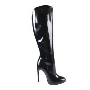 gucci black patent leather knee high heels boots shoes sz
