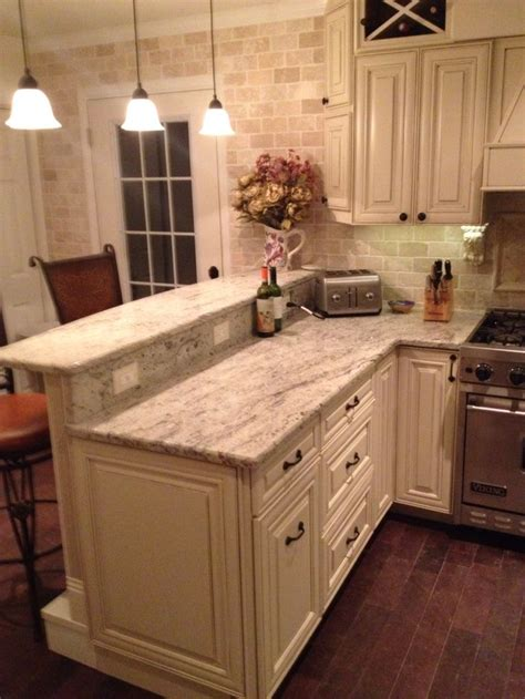 Kitchen Peninsula Cabinets My Diy Kitchen Two Tier Peninsula Viking Range Stools From Wayfair Antique White Grainy