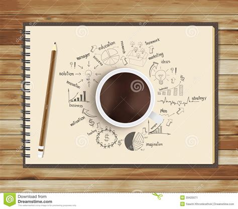 Vector Coffee Cup With Notebook And Drawing Busine Stock Vector   Image: 33425071