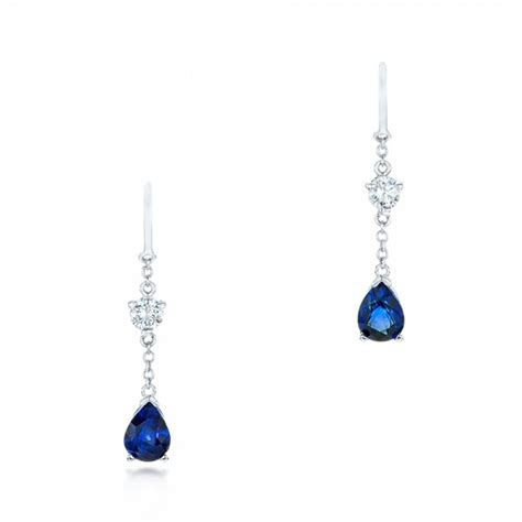 Drop Earring custom and blue sapphire drop earrings 102776