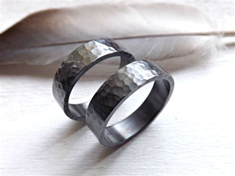 black silver wedding bands matching rings for him by