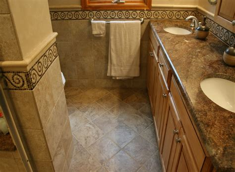 bathroom floors ideas guest bathroom tile accents home design scrappy