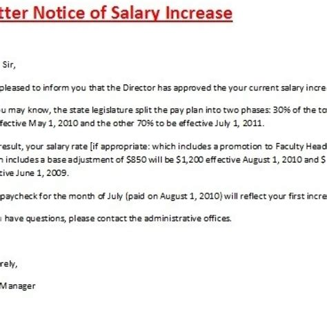 Promotion Letter With Salary Increase Sle salary increase template employee promotion