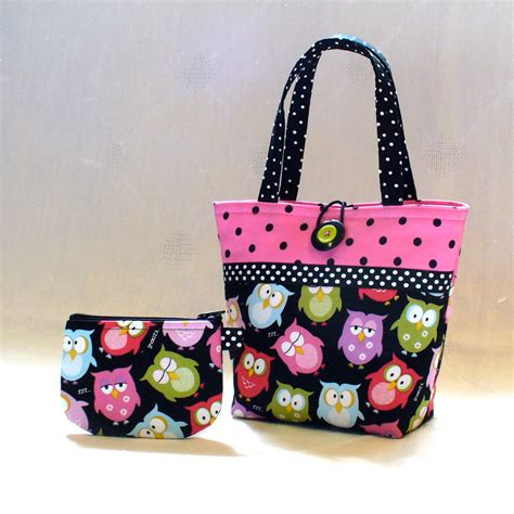 Handmade Tote Bags - purse sleepy owls mini tote bag and coin