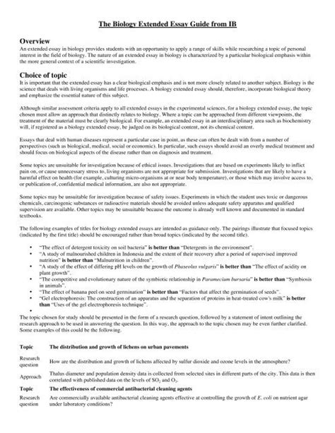 Ib Extended Essay Ideas Biology   Sitedoct.org