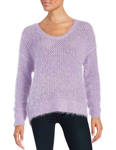 eyelash knit sweater pattern dkny eyelash knit sweater in purple lilac hazel lyst