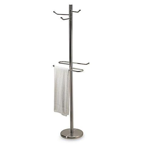 bathroom towel tree rack swiveling free standing towel and bathrobe valet in satin