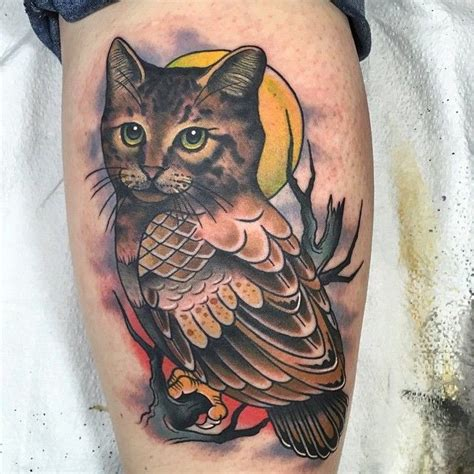 cat owl by dan smith captured heart tattoo tattoo