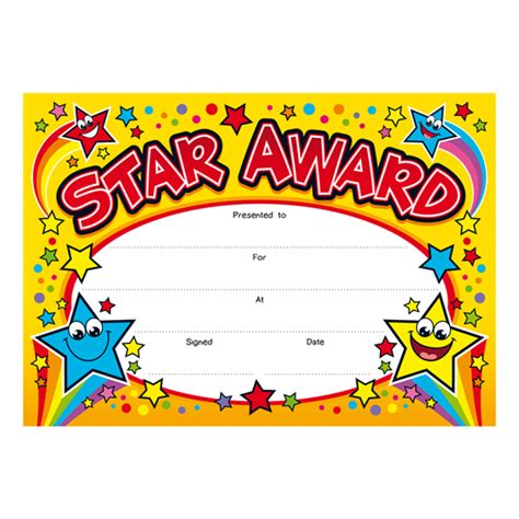 printable star awards star award children s certificates brainwaves