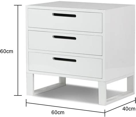 White High Gloss Bedside Drawers by White High Gloss Three Drawer Bedside Table Bedside Tables