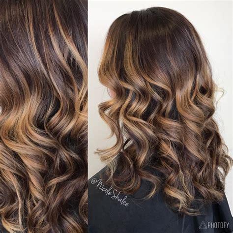 toffee vs honey color dark hair ombr 233 balayage caramel hair curled hair