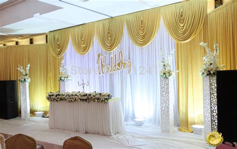Cheap Fabric For Wedding Draping Fast Shipping 3x6m White And Gold Wedding Backdrop Curtain