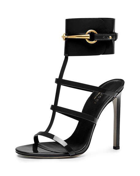 Sandal Hells Gucci 338 gucci ursula patent ankle wrap cage sandal black