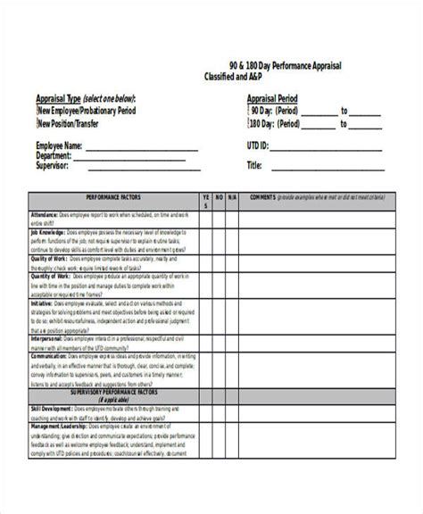 90 day performance review template 90 day evaluation form template related keywords 90 day