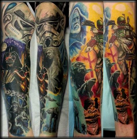 star sleeve tattoos wars leg sleeve by rob figueroa hallowed point