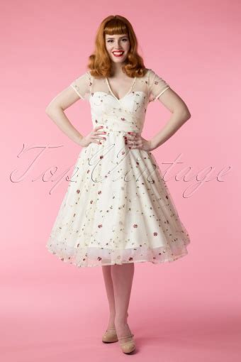 50s floral swing dress in ivory - Hochzeitskleid Swing