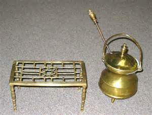 vintage fireplace accessories two antique brass fireplace accessories a footed 678489