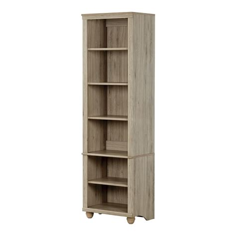 south shore hopedale narrow 6 shelf bookcase rustic oak