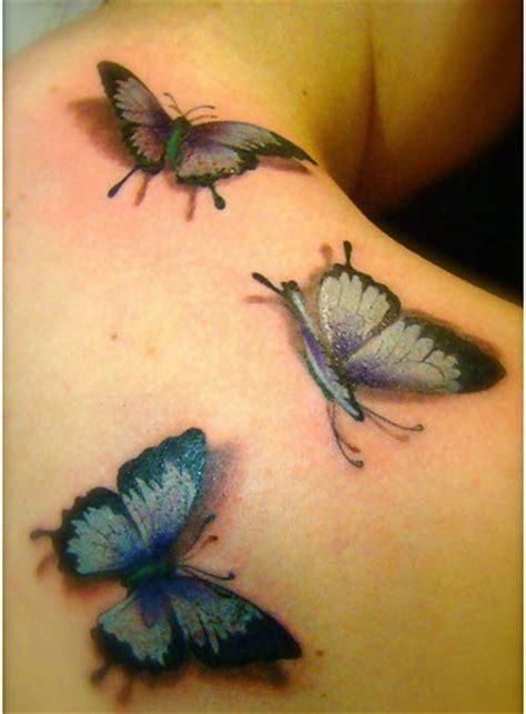 Tattoo 3d Femme   three butterflies 3d tattoos design ideas tattoo ideas