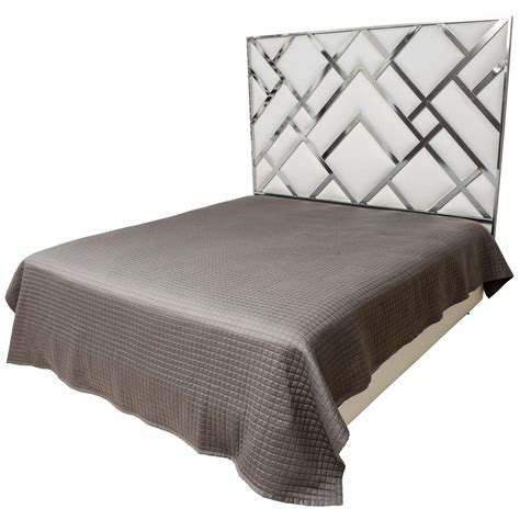 King Leather Headboard King Size D I A Headboard In Chrome And Faux Leather At 1stdibs