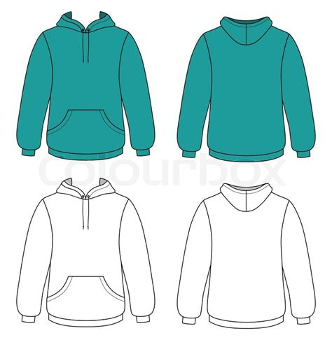 Template Vector Illustration Of A Blank Hooded Sweater Stock Vector Colourbox Sweater Design Template