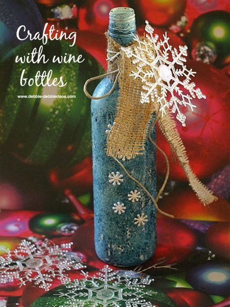 recycled wine bottle christmas craft idea debbiedoos