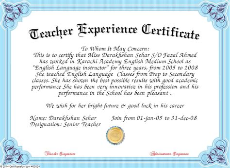 free certificate templates for teachers experience certificate format for computer