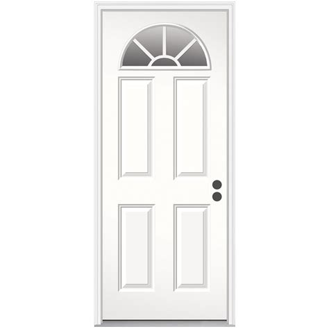 32x78 Exterior Door Shop Reliabilt 4 Panel Prehung Inswing Steel Entry Door Common 32 In X 78 In Actual 33 5 In