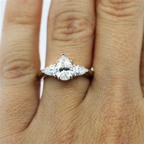 Pear Shaped Engagement Ring by Platinum Certified 0 90ct Pear Shaped