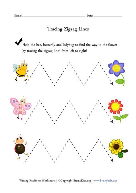 zigzag tracing pattern tracing zigzag lines worksheet preschool fun pinterest