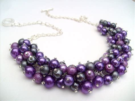 purple beaded necklace set of 6 pearl beaded necklace purple slate gray bridesmaid