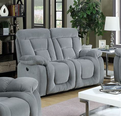 Bloomington Upholstery by Bloomington Cm6129gy Reclining Sofa In Gray Fabric W Options