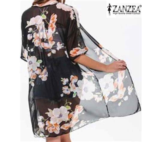 Cape Brokat Bunga Kotak zanzea fashion wanita pantai terbuka cardigan sifon bunga lazada indonesia