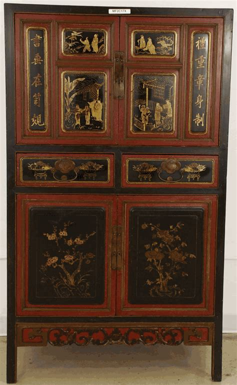 Antique Asian Furniture: Red & Black Cabinet from Fujian